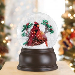 PAIR OF CARDINALS SNOW GLOBE