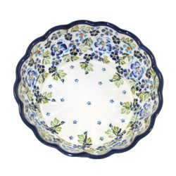 "Scalloped Bowl 9"" Blue Flowers with Green Leaves"