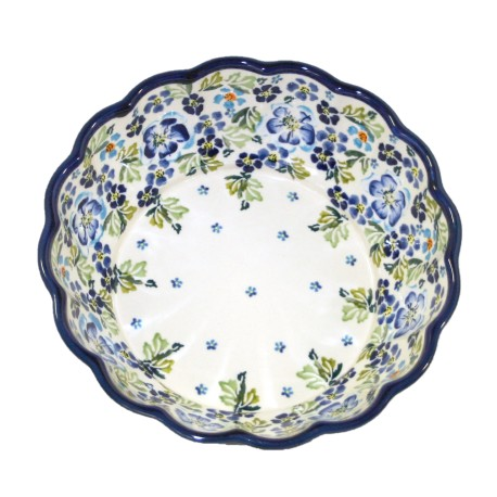 """Scalloped Bowl 9"""" Blue Flowers with Green Leaves"""