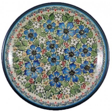 "Dinner Plate 11"" Red/Whit/Blue Flowers"