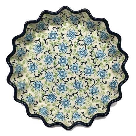 "Fluted Pie Baker - 10"" - Blue/Green Swirls"