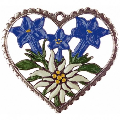 Heart with Edelweiss Pewter Ornament