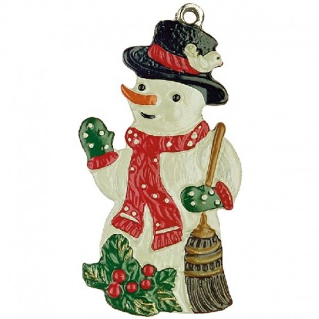 Snowman with Broom and Holly Pewter Ornament