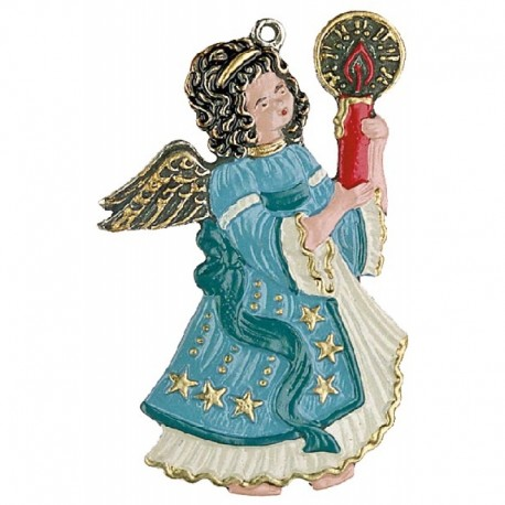 Pewter Ornament Angel with one Candle blue