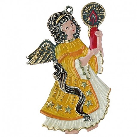 Pewter Ornament Angel with one Candle yellow
