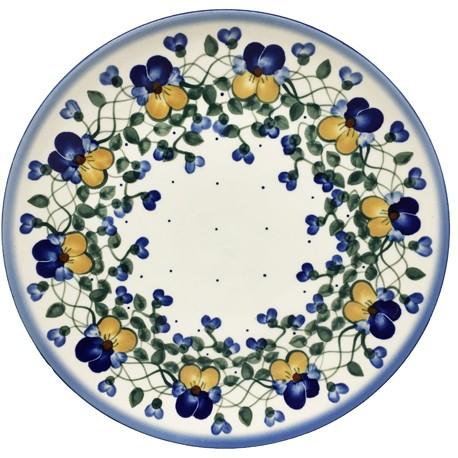 "Polish Pottery Plate - 10"" - Pansies"