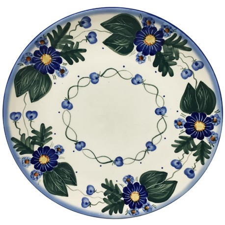 "Polish Pottery Plate - 10"" - Forget-me-nots"
