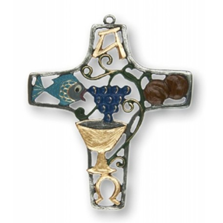 Liturgical Cross Pewter Ornament