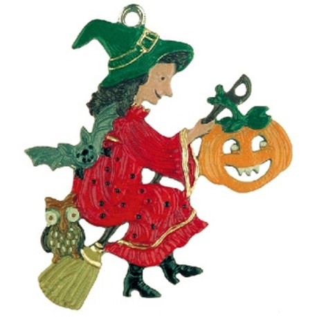 Witch with Pumpkin Pewter Ornament