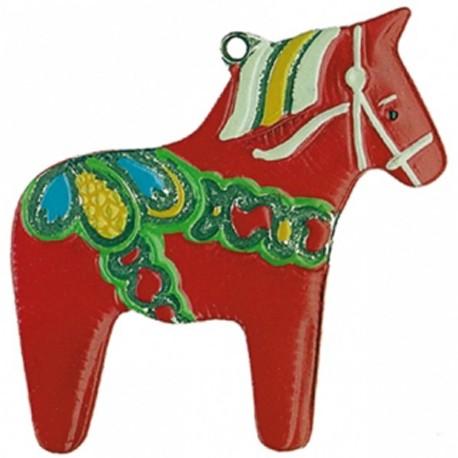 Swedish Dala Horse Pewter Ornament