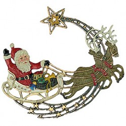 Santa Claus with Sleigh Pewter Ornament