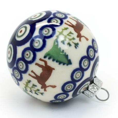 """Polish Pottery 3"""" Ball Ornament Deer"""