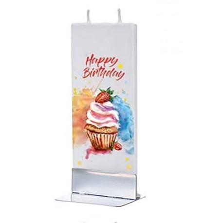 Flat Candle - Happy Birthday Cupcake