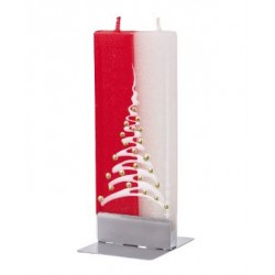 Flat Candle Red and White Christmas Tree