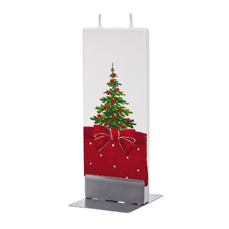 Flat Candle Green Christmas Tree with Bow