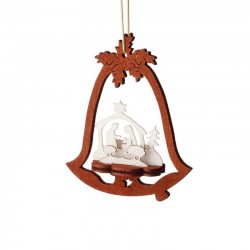 Nativity Bell Two-Tone Wooden Ornament
