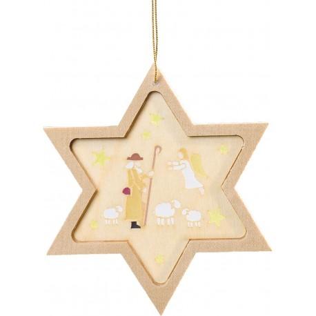 Shepherd Star Wooden Christmas Ornament