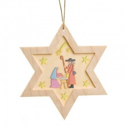 Nativity Star Wooden Ornament