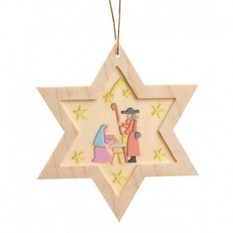 Nativity Star Wooden Ornament