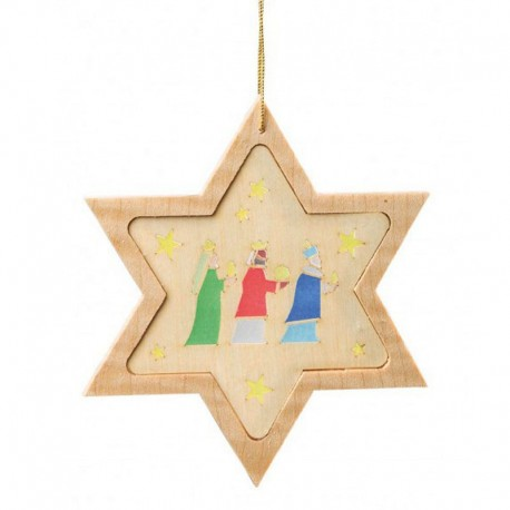 Three Kings Star Wooden Ornament
