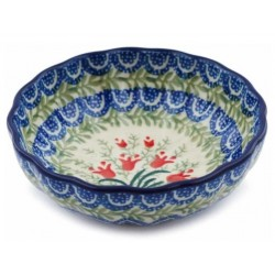 "Scalloped Bowl - 5"" - Crimson Bells"