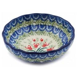 "Polish Pottery 5"" Scalloped Bowl - Crimson Bells"