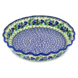 """Polish Pottery Fluted Pie Baker - 10"""" - Blue Berries"""