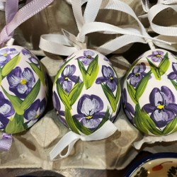 Eggshell Ornament Purple Irises