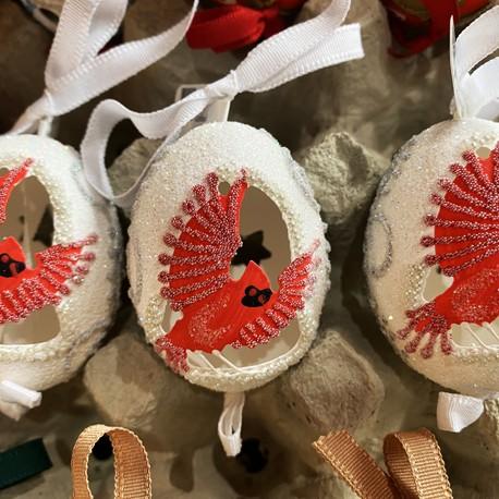 Eggshell Ornament Cutout Cardinal