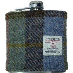 Tweed-Wrapped Flask - Green, Blue, and Brown
