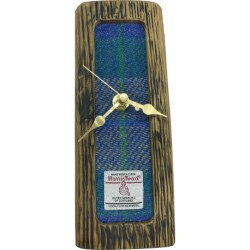 Whisky Barrel Tweed Clock - Blue, Green, and Purple