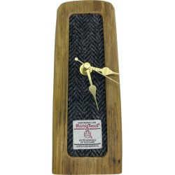 Whisky Barrel Tweed Clock - Grey Herringbone