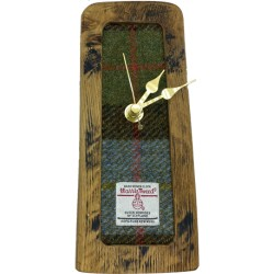 Whisky Barrel Tweed Clock - Blue, Green, and Brown