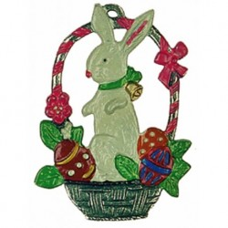 Bunny in a Basket Pewter Ornament
