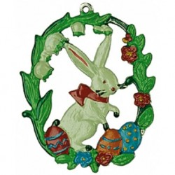 Bunny with Easter Eggs and Flowers Pewter Ornament