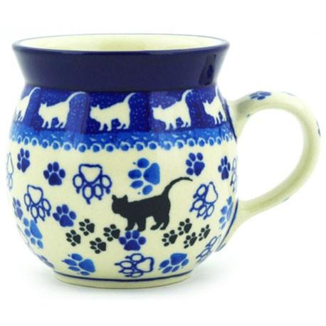 Polish Pottery Bubble Mug - 8 oz - Black Cat