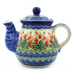Polish Pottery Tea or Coffee Pot - 20 oz. - Crimson Bells