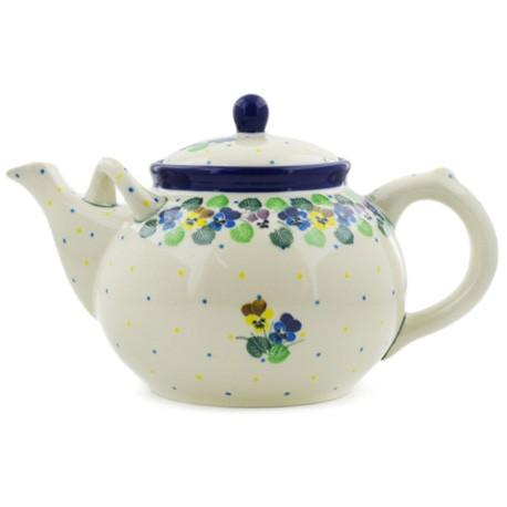 Polish Pottery Tea or Coffee Pot - 61 oz. - Colorful Pansies