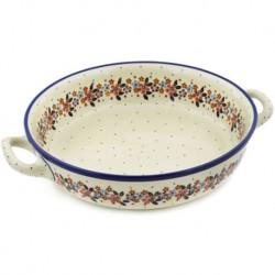 "Polish Pottery Round Baker - 10"" - Burgundy Wreath"