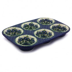 Polish Pottery Muffin Baker - Blue Spring Daisy