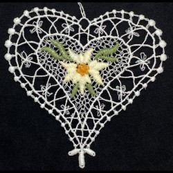 Lace Ornament - Heart with Edelweiss