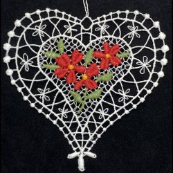 Lace Ornament - Heart with Red Flowers