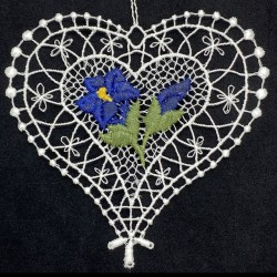 Lace Ornament - Heart with Blue Gentian