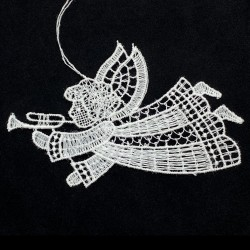 Lace Ornament - Flying Angel with Trumpet