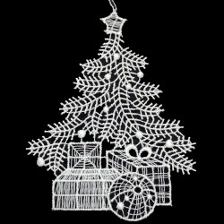 Lace Ornament - Christmas Tree with Gifts
