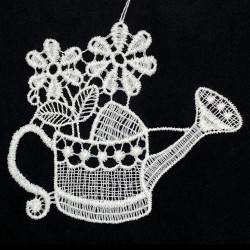 Lace Ornament - Watering Can with Flowers