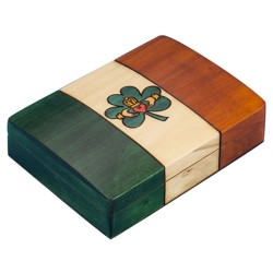 Polish Wooden Box - Irish Flag with Claddagh