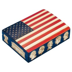 Polish Wooden Box - American Flag with Presidents