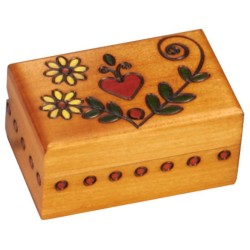 Polish Wooden Box - Gold Heart Box