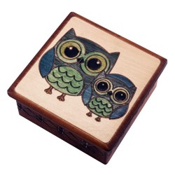 Polish Wooden Box - Two Owls
